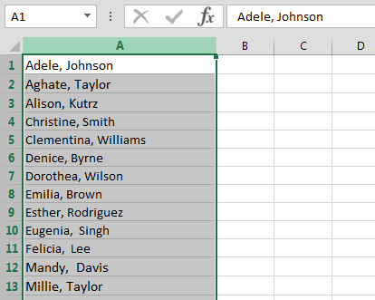 first and last name in the Excel spreadsheet